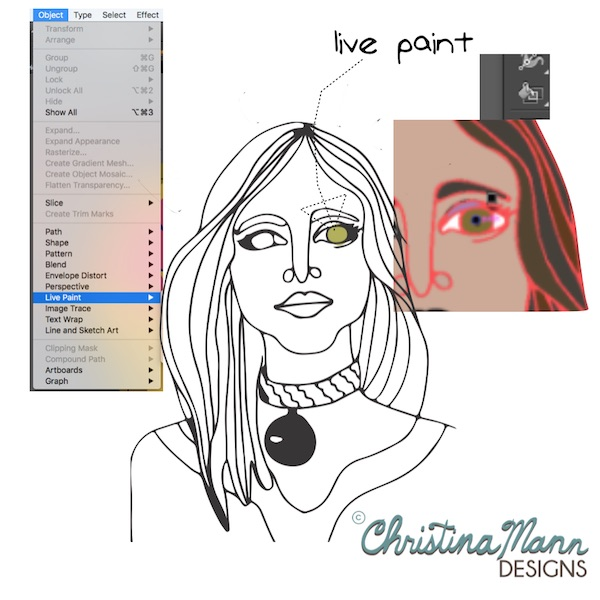 Using Live Paint and paint bucket in Adobe Illustrator | Tutorial at Christina Mann Designs
