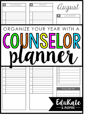 Learn how to organize your school year with a printable School Counselor Planner!