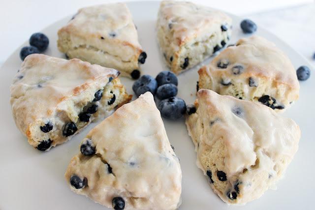 Blueberry Buttermilk Scones with Meyer Lemon Glaze