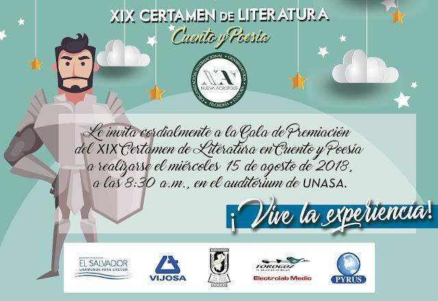 Invitación a gala de premiación Certamen de Literatura Nueva Acrópolis Santa Ana