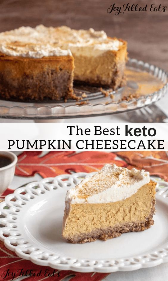 Pumpkin Cheesecake - Low Carb, Keto, Gluten-Free, Grain-Free, THM S E #pumpkin #cheesecake #lowcarb #keto