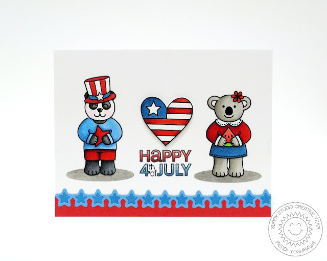 Sunny Studio Stamps Stars & Stripes, Comfy Creatures and Star Border Fourth of July Card by Mendi Yoshikawa