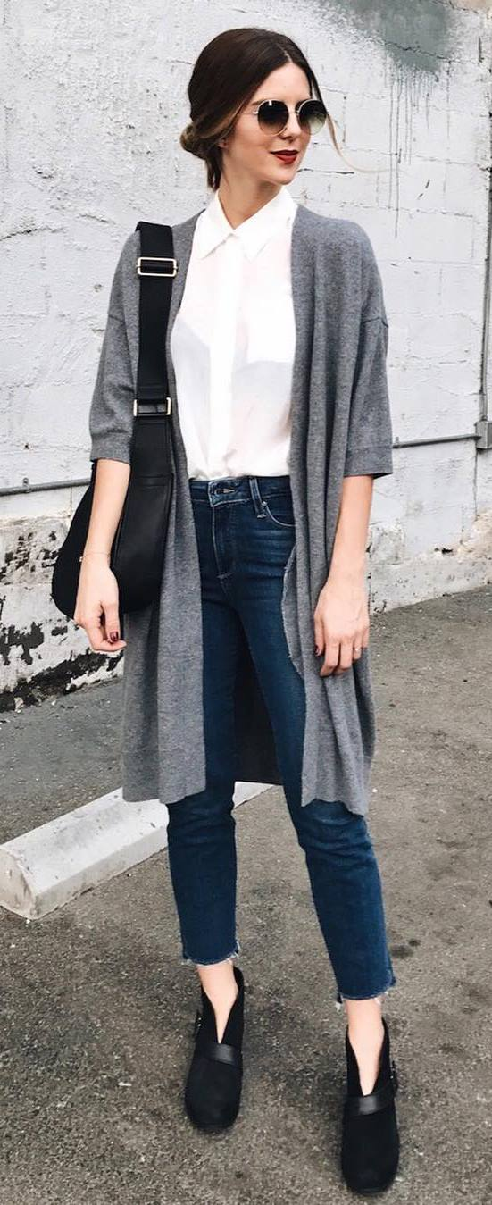 office style addict: grey cardi + white shirt + bag + jeans + boots