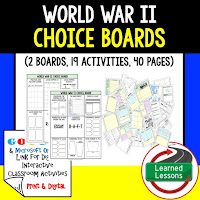American History Digital Learning, American History Google, American History Choice Boards, World War II
