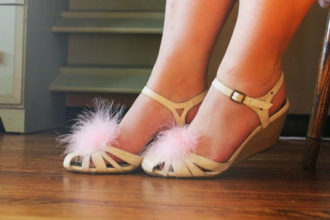 pink marabou boudoir slipper shoe clips