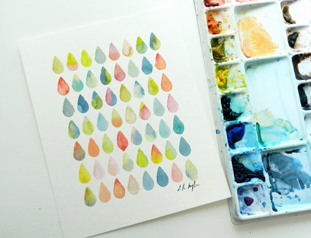 Original Watercolor Colorful Raindrops Design by Elise Engh