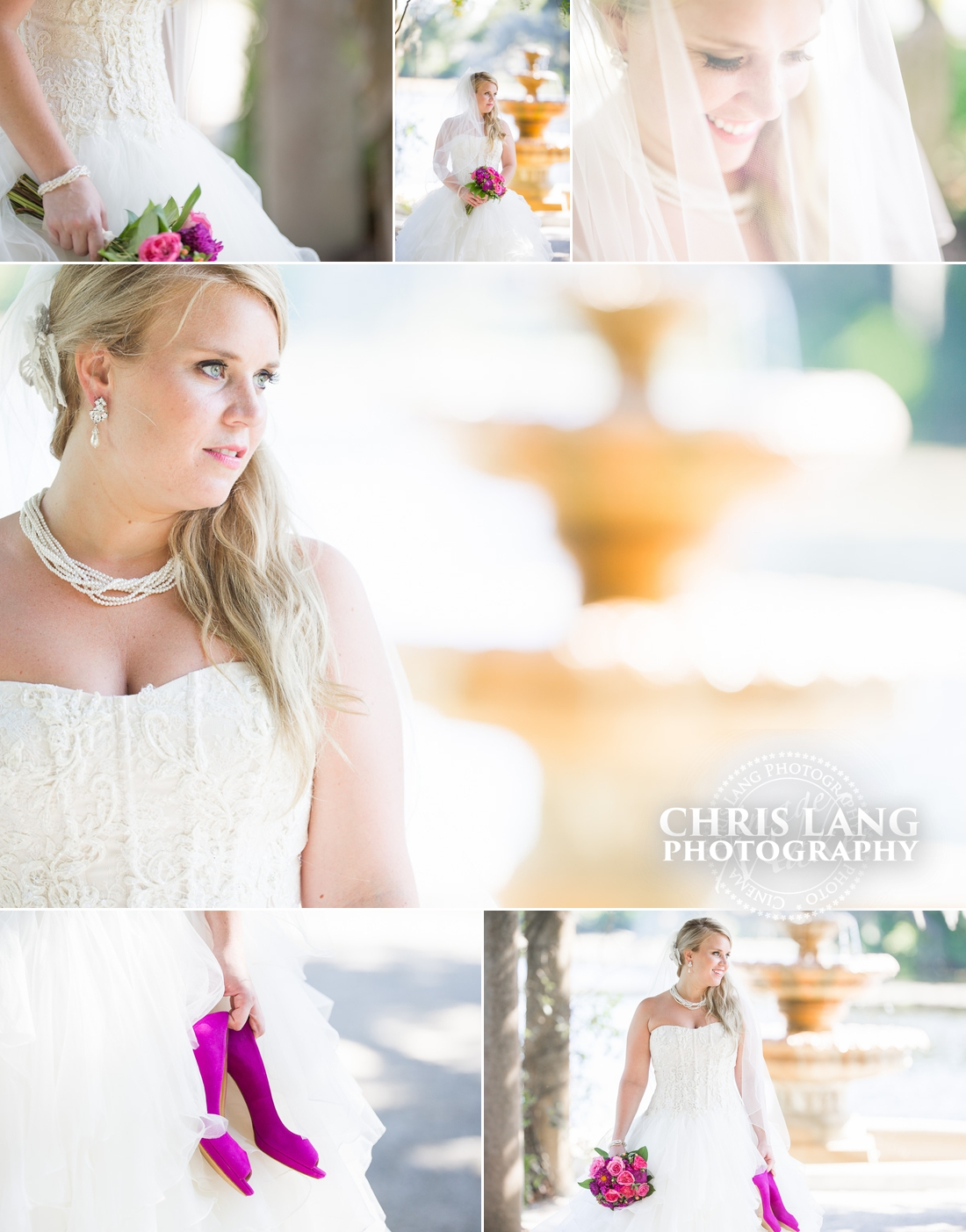 Image of Bridal session at Airlie Gardens -Wilmington NC - Bridal Ideas - Inspiration - Wedding Dress - Garden Weddings - Garden Bridal  Portraits - Chris Lang Photography - NC Wedding Photographers