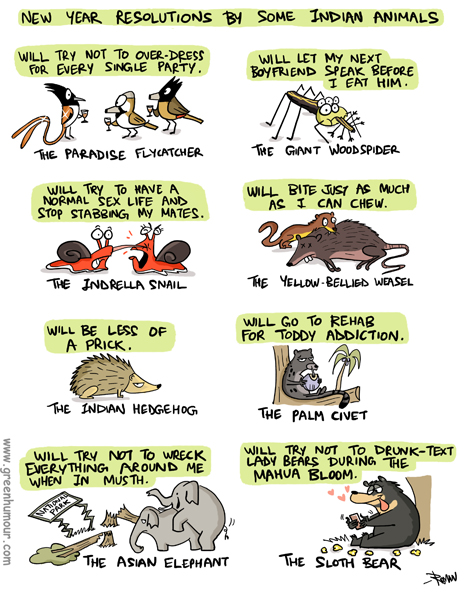Green Humour: New Year Resolutions by Some Indian Animals