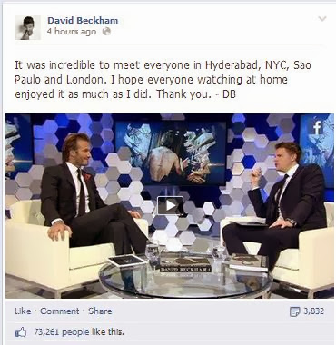 David Beckham book launch thank you Facebook post