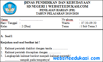 Soal PH Kelas 2 Tema 1 Subtema 3