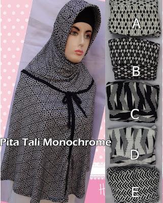 Grosir Jilbab Pita Tali Monochrome