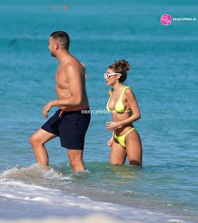 Chantel Jeffries  body huge    in tiny yellow bikini WOW Beach Side  Pics Celebs.in Exclusive 009