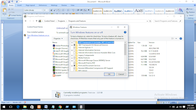 Cara Cek Net Framework Di Windows 10 dan Windows 8