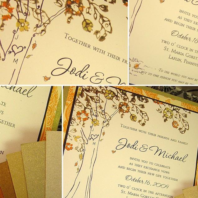 Fall Color Wedding Invitations: Fall Autumn Wedding Invitations: Standout Fall Wedding