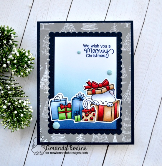 Meowy Christmas Card by Amanda Bodine | Newton's Christmas Cuddles Stamp Set by Newton's Nook Designs #newtonsnook #handmade