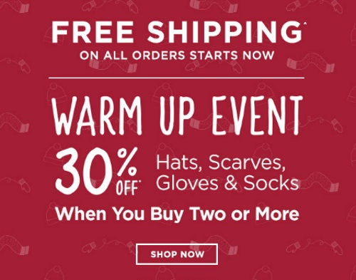 Roots Warm Up Event 30% Off Hats, Scarves, Gloves & Socks + Free Shipping