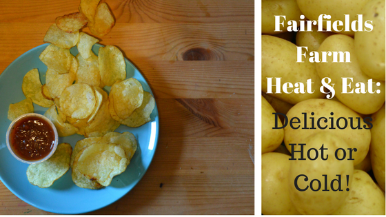 Two images, one with crisps and dip, one with potatoes and a title.