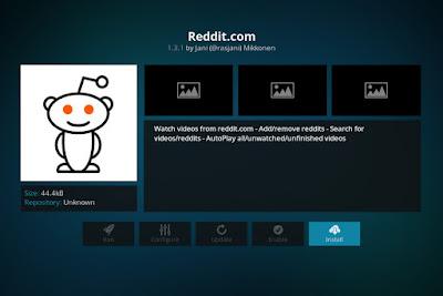 Click to Install Reddit Kodi Addon