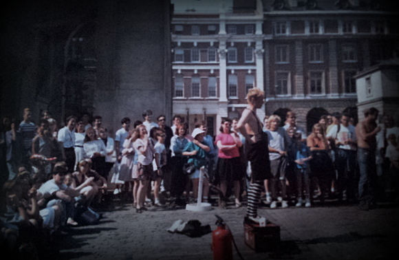 Street entertainment in Covent Garden, London, 1990