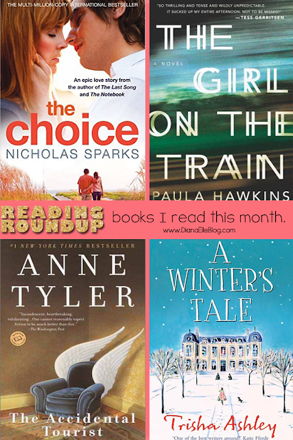 Four books I read in March. // The Girl on the Train, The Choice, The Accidental Tourist, and A Winters Tale // definitely must reads! Linking up to #TheReadingroundup