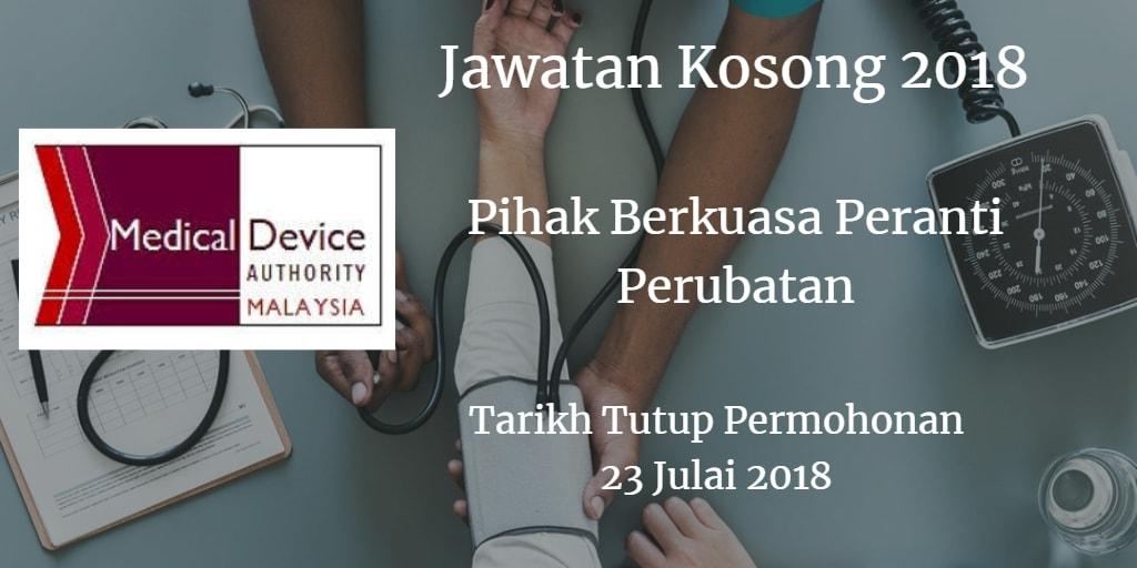 Jawatan Kosong Pihak Berkuasa Peranti Perubatan (KKM) 23 Julai 2018