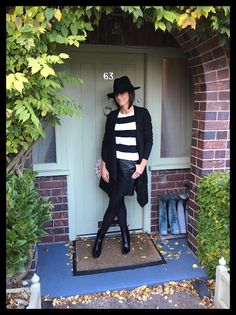 My Midlife Fashion, TU Clothing Fedora hat, stripe monochrome new neck jumper, zara a line faux leather skirt, zara block heel ankle boots, firefly alison cardigan