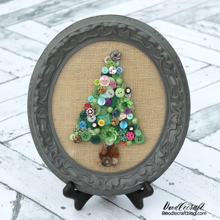 Button Christmas Trees: Doodlecraft: Jeweled Vintage Buttons Christmas Tree Decor