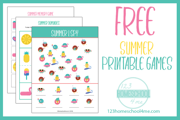image regarding Printable Memory Games identified as Totally free Printable Summer season Game titles 123 Homeschool 4 Me