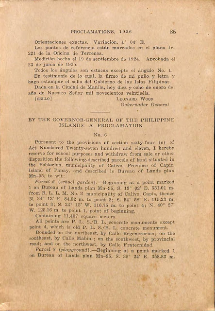 Proclamation No. 5 series of 1926 reserving Fortune Island for lighthouse use, Spanish version, continued.