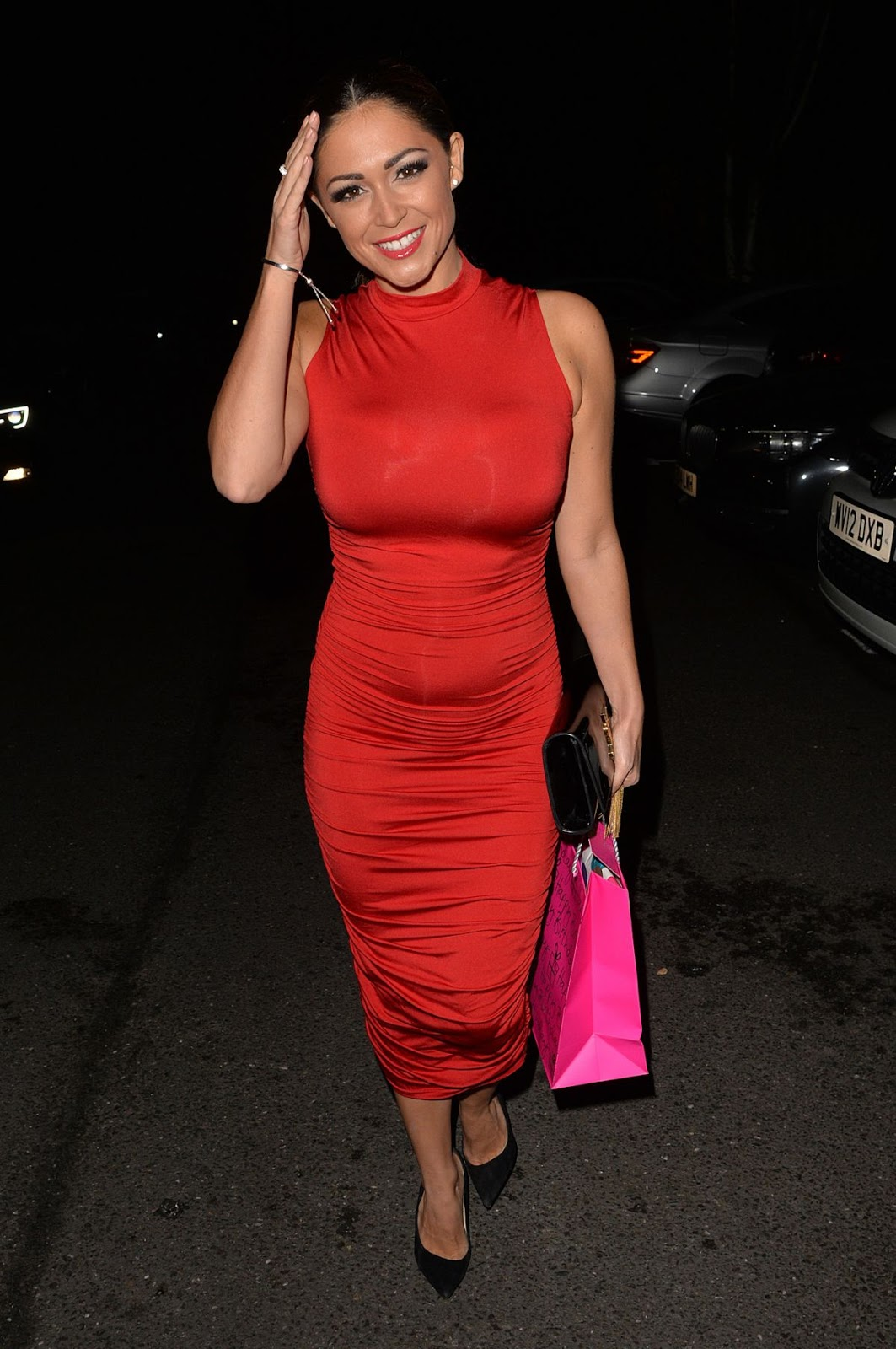 HQ Photos of Casey Batchelor in red hot dress Arrives at Her Birthday Party in Chigwell