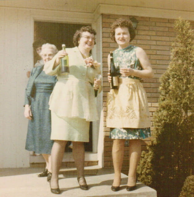 Vintage Snapshot. Two awesome middle age ladies, wearing aprons, on the front steps with bottles of wine. What are you thankful for and other stories of Giving Thanks. marchmatron.com