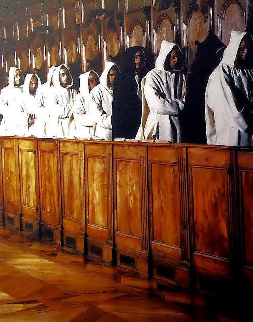 Monges cartuxos rezam o Ofício Divino, no mosteiro da Grande Chartreuse, nos Alpes