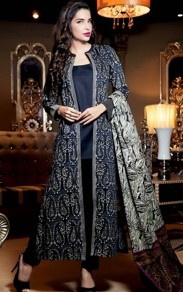 Gul Ahmed Top 14 Winter Trend Jacket Suits Coat Kameez