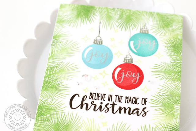 Sunny Studio Stamps: Holiday Style and Christmas Chapel Christmas Ornament Card by Nancy Damiano