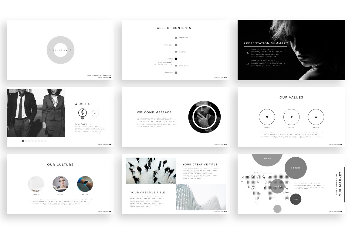 Free Minimal Powerpoint Template Infographicon