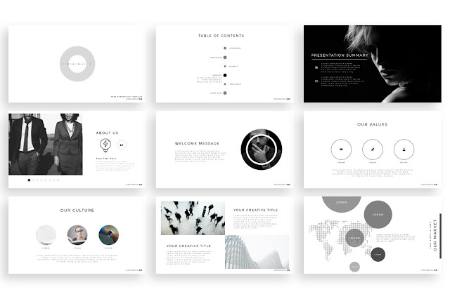 Free Minimal PowerPoint template  intro slides