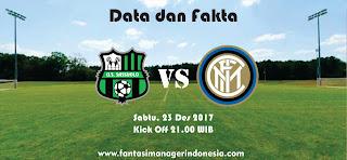 Data dan Fakta Liga Fantasia Sassuolo vs Inter Sassuolo vs Inter