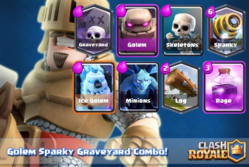 Deck Golem Sparky Graveyard Arena 8-9 Clash Royale