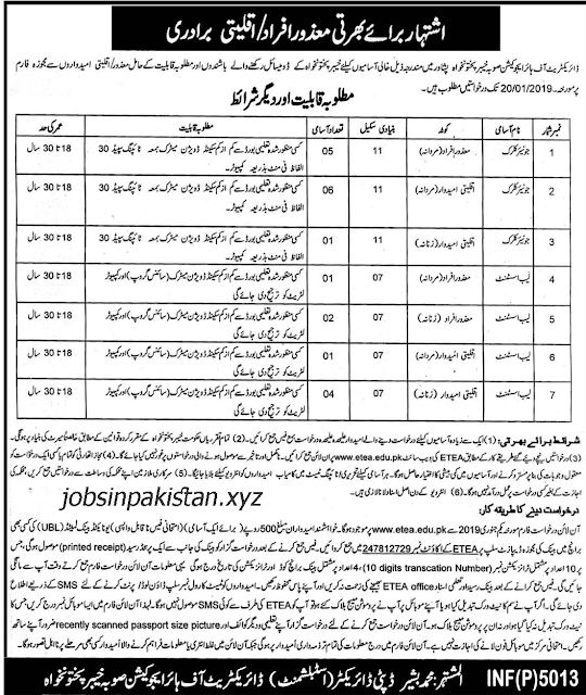 Advertisement for Higher Education Department KPK Jobs