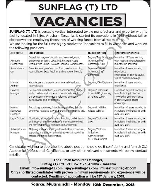 8 New Job Opportunities Arusha at Sunflag Group Tanzania