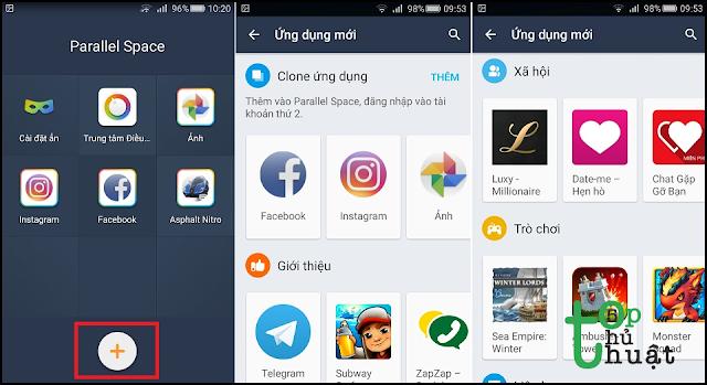 Chọn vào app Zalo trên màn hình để add ứng dụng
