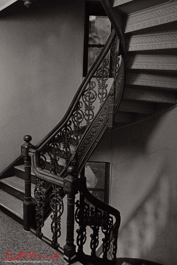 An ornate cast iron staircase inside 80 East 11th Street New York. Photographed by Kent Johnson for Street Fashion Sydney NY Edition.