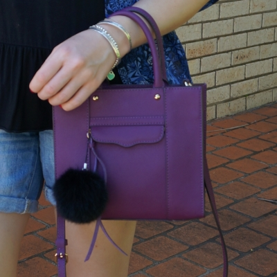 printed kimono, denim shorts, Rebecca Minkoff mini MAB tote in plum  | awayfromtheblue