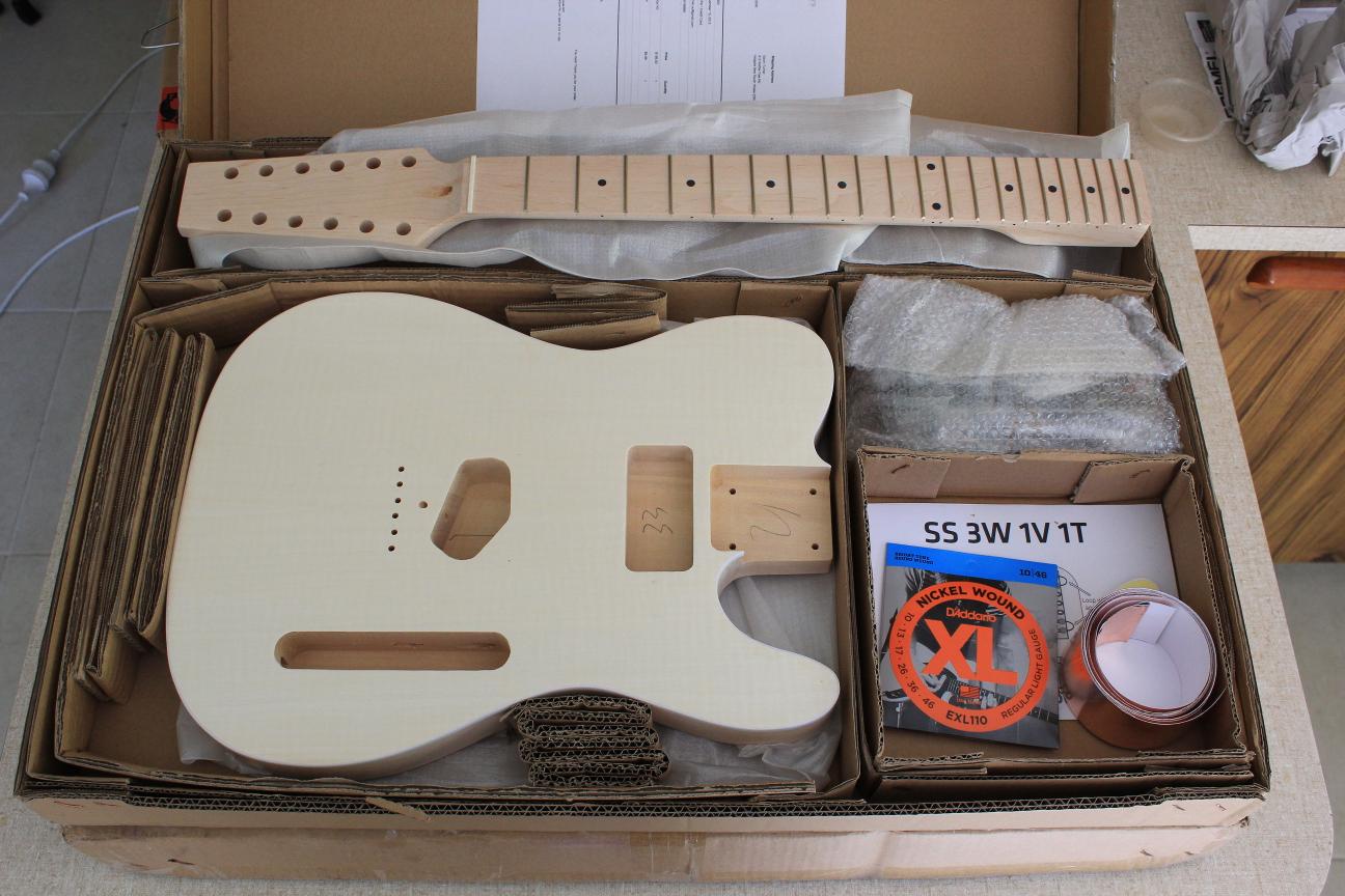 guitar kit builder 12 string telecaster unboxing and mock build. Black Bedroom Furniture Sets. Home Design Ideas