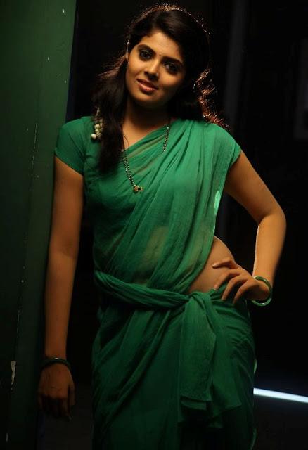 Hot actress Sravya in green saree images