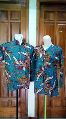 Model Baju Batik Sarimbit Lebaran Terbaru Biru Muda