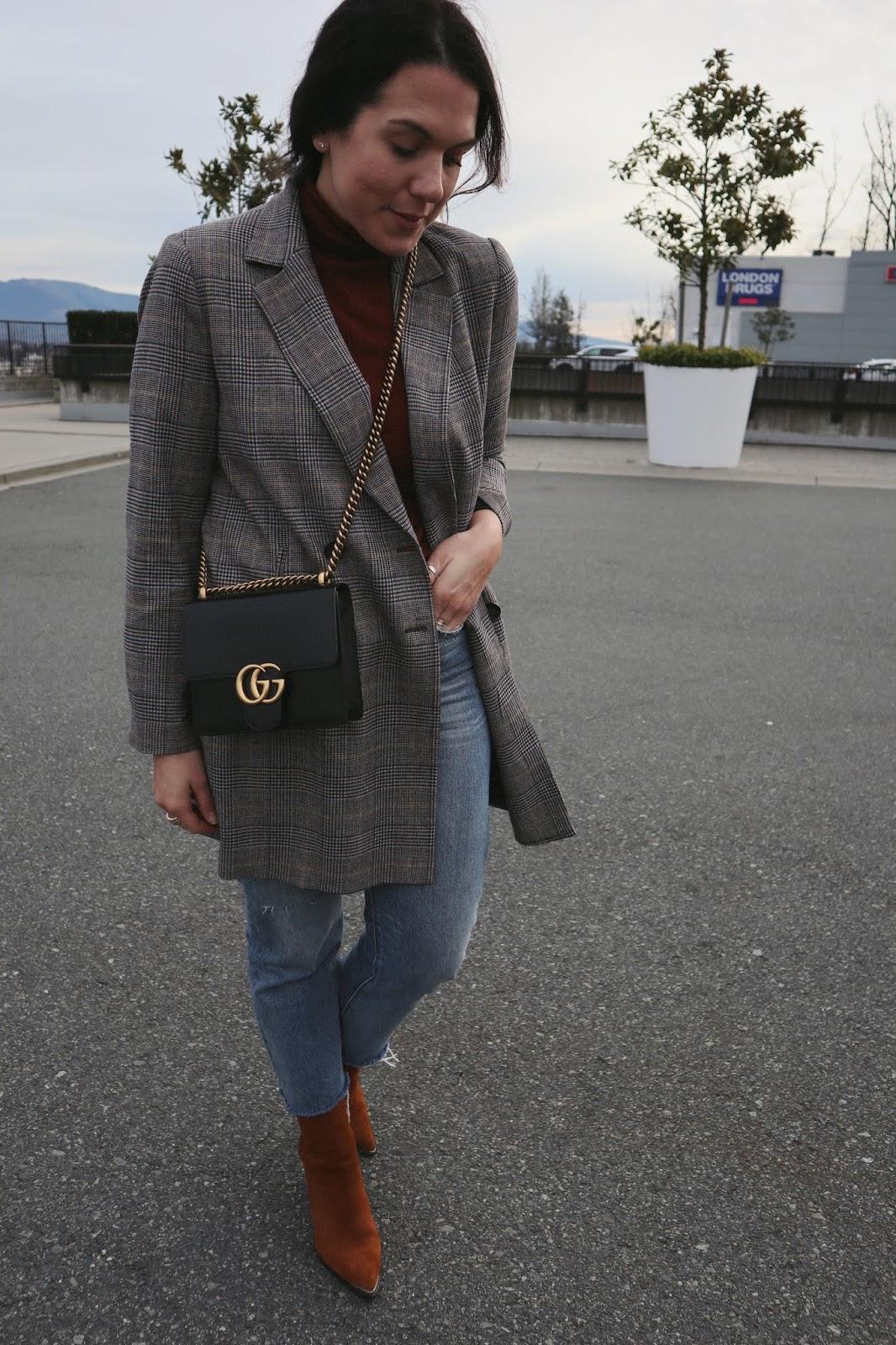 plaid blazer outfit zara levis wedgie jeans jonak suede boots vancouver fashion blogger