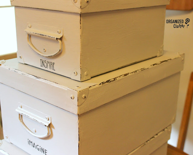 Dated Storage Boxes Get a Makeover www.organizedclutter.net