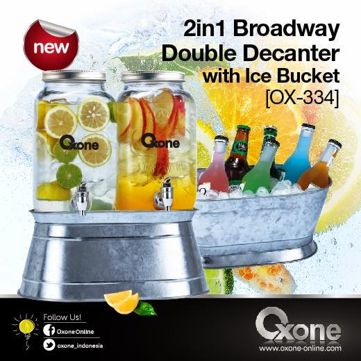 OX-334 Oxone Double Decanter with Ice Bucket