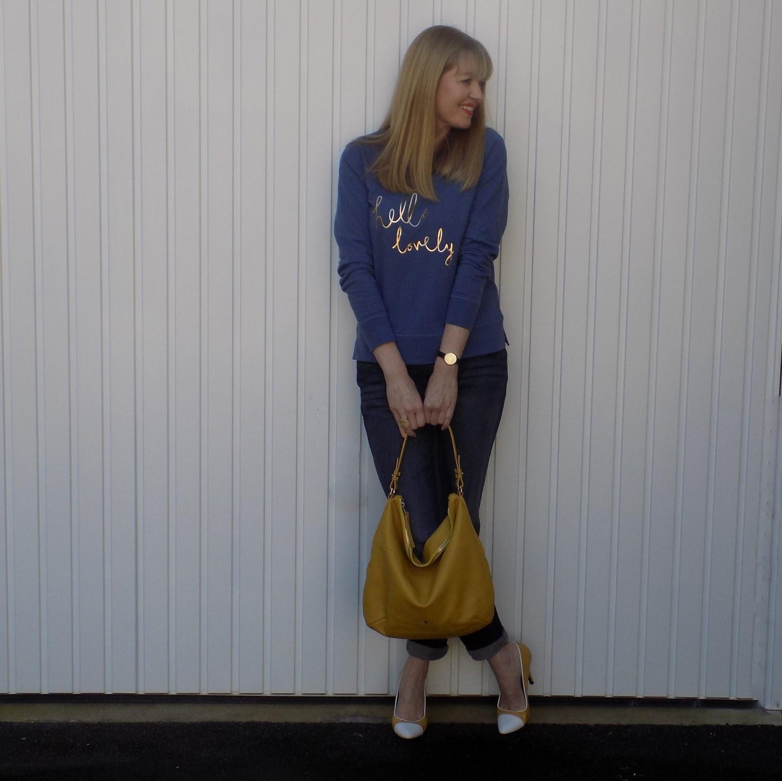 Boden slogan sweatshirt, boyfriend jeans, Yull Chartwell shoes